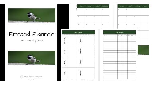 2018 Errand Planner
