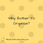 Why Bother To Organize?